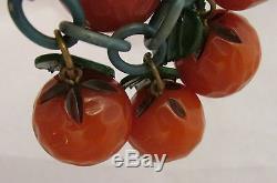 Vintage Bakelite Dangling Figural Five Carved Oranges Fruit Pin Brooch