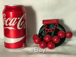 Vintage Bakelite Dangling Red Cherry Pin 8 Cherries Gorgeous