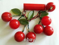 Vintage Bakelite Dangling Red Cherry Pin/Brooch