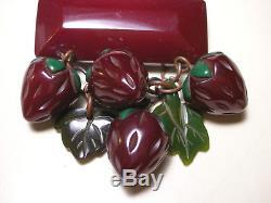 Vintage Bakelite Dark Deep Red Strawberry Carved Brooch Pin & Earrings Set