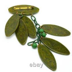 Vintage Bakelite Deep Carved Green Dangling Leaves Brooch Pin