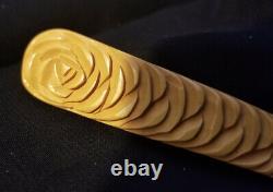 Vintage Bakelite Deep Carved Spring Flower Bar Brooch Pin Butterscotch Roses 4