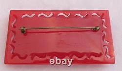 Vintage Bakelite Deep Heavy Carved Cherry Red Floral Pierced Border Pin Brooch