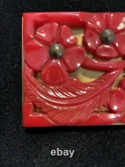 Vintage Bakelite Deep Heavy Carved Cherry Red Floral Pin Brooch Brass Back