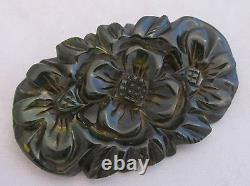 Vintage Bakelite Deep Heavy Carved Spinach Green with Marbled Floral Pin Brooch