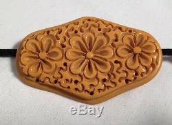 Vintage Bakelite Deeply Carved Flower Butterscotch Large Pin Brooch 23.5g Tested