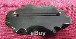 Vintage Bakelite Dichroic Black Green Leaf Brooch Pin 3 1/2 Simichrome Tested
