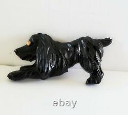 Vintage Bakelite Dog Pin Black Cocker Spaniel Pin Hand Carved 1930's Plastic