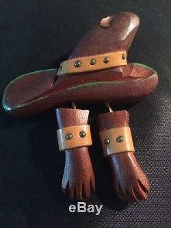 Vintage Bakelite Era Wood Cowboy Hat And Gloves Pin. Large