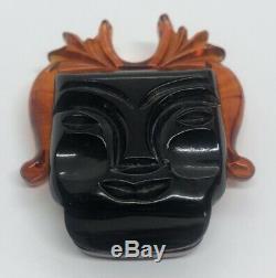 Vintage Bakelite Estate Brooch Pin Tribal Face Mid Century Modern Carved Mask