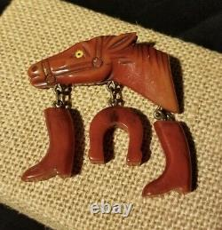 Vintage Bakelite Figural Horse Dangle Brooch Pin Amber Brown Charms Boots