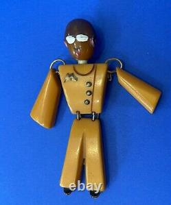 Vintage Bakelite Football Player Aviator Man Military Helmet BROOCH Pin Rare