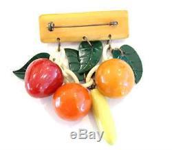 Vintage Bakelite Fruit Brooch Strawberry Orange Peach Banana Pin