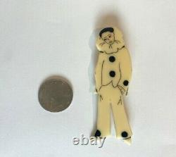 Vintage Bakelite Galalith Pierrot French Clown Pin Brooch 1940's Art Deco
