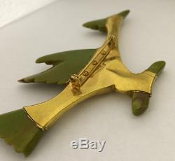 Vintage Bakelite & Gold Metal Brooch Figural Bird Road Runner Pin