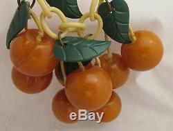 Vintage Bakelite Golden Butterscotch Colored Carved Cherries Dangle Pin Brooch