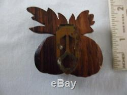 Vintage Bakelite Green Apples Pin Broach Attached to Carved Wood Back