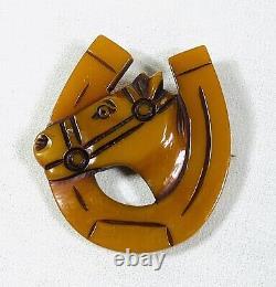 Vintage Bakelite HORSEHEAD In A HORSESHOE Pin Good Luck