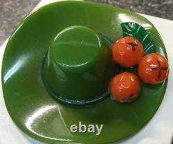 Vintage Bakelite Hat With 3 Oranges Pin Raredesign (c660)