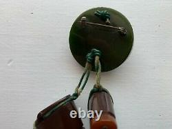 Vintage Bakelite Hat and Hiking Boots Green and Brown Brooch Pin