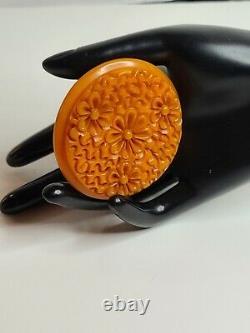 Vintage Bakelite Heavy Deep Carved Spring Tulip Flower Pin Brooch Pumpkin Orange