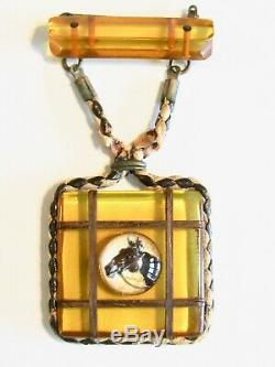 Vintage Bakelite Horse Dangle Medallion Pin Brooch W Essex Crystal & Wood Inlay
