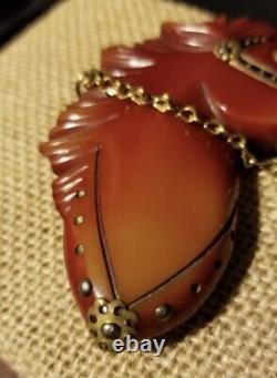 Vintage Bakelite Horse Head Brooch Pin With Bridle Painted Western Americana
