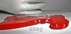 Vintage Bakelite Large Carved Cherry Red Scotty Dog Brooch Pin 3-1/4 EUC