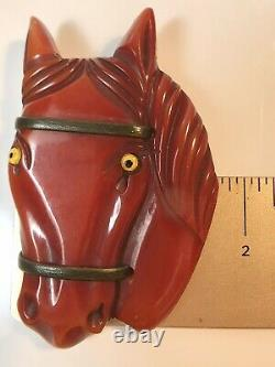 Vintage Bakelite Large Horse Head Pin Brooch Book Piece Tested (531)