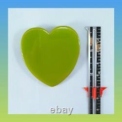 Vintage Bakelite Large Slice Green Heart Brooch Pin NewithOld Stock