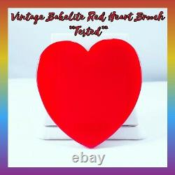 Vintage Bakelite Large Slice Red Heart Brooch Pin Old/New Stock