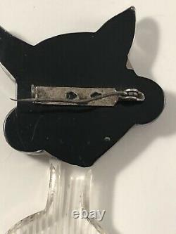 Vintage Bakelite Lucite Googly Eyes Cat Pin Brooch Carved Halloween Black White
