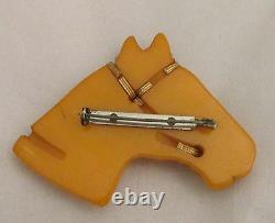 Vintage Bakelite Marbed Butterscotch Horse Head Glass Eye Brass Trim Pin Brooch