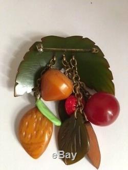 Vintage Bakelite Multi Fruit On Leaves Pin /brooch