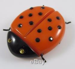 Vintage Bakelite Orange & Black Figural Ladybug Pin Brooch withGlass Stones