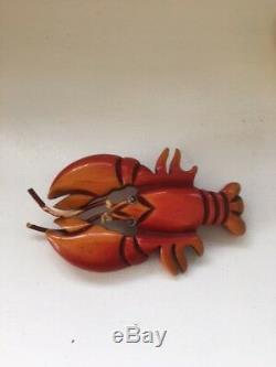 Vintage Bakelite Over Dyed Lobster Pin Brooch