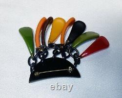 Vintage Bakelite PHILADELPHIAColors Dangling Pin Broach