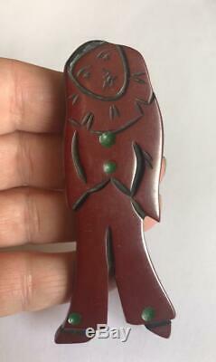 Vintage Bakelite Pierrot Brooch Artisan Carved Pin Deeply Carved Clown BIG 3.5