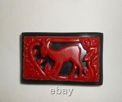 Vintage Bakelite Pin Carved Cherry Red Fawn Doe Deer Foliage Statement Brooch