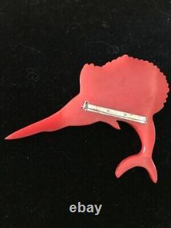 Vintage Bakelite Pin Large Red Swordfish