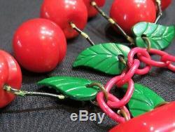 Vintage Bakelite Red Bar withEight Dangling Carved Cherries Pin/Brooch