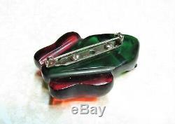 Vintage Bakelite Red & Green Frog Pin Brooch