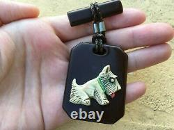 Vintage Bakelite Scottie Dog Chocolate Carved Dangle Leather Cord Pin Brooch