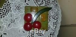 Vintage Bakelite Square Geometric Cherry Fruit Brooch Pin