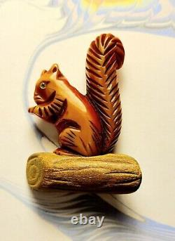 Vintage Bakelite Squirrel On Log Or Branch Rare Pin Brooch