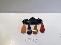 Vintage Bakelite Tested + Teardrop Dangle Brooch Pin FS