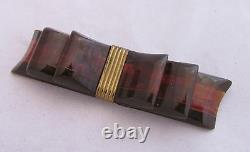 Vintage Bakelite Translucent Root Beer&Brown Laminated Striped Ribbon Bow Pin