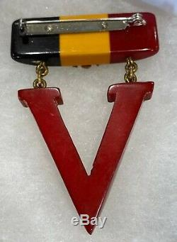 Vintage Bakelite V FOR VICTORY BROOCH VINTAGE 1940S BROOCH PIN RARE WWII