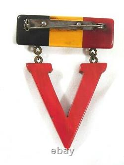 Vintage Bakelite WWII WW2 Victory V Military Eagle Sweetheart Dangle Brooch Pin