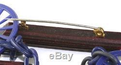 Vintage Bakelite Wood Cellulose Acetate Dangling Wagon Wheel Pin